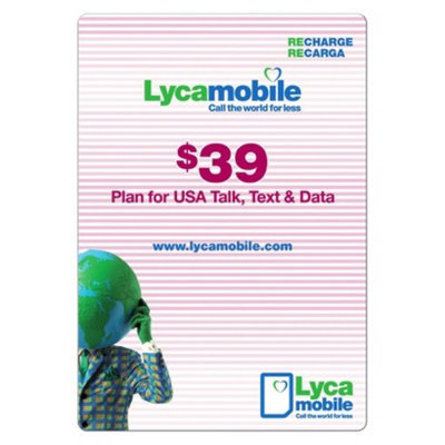 Interactive Communication Lycamobile $39 Pre-Paid Cell Phone Card