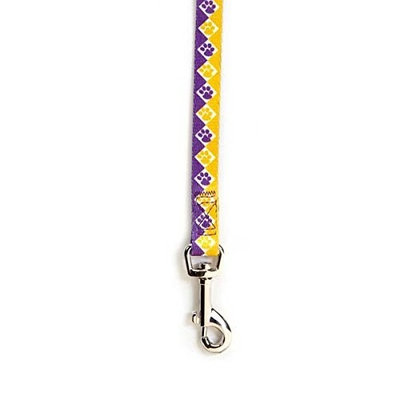 Casual Canine Nylon Collegiate Paws Dog Lead, 4-Feet, Purple/Yellow