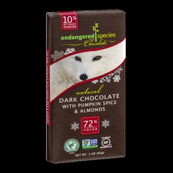 Endangered Species Chocolate Dark Chocolate Pumpkin Spice & Almonds 72% Cocoa