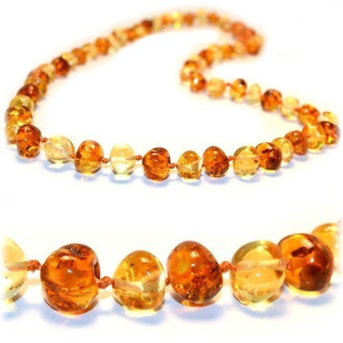 The Art of CureTM - SAFETY KNOTTED - Honey 1x1 - (Unisex) - Certified Baltic Amber Baby Teething Necklace Highest Quality Guaranteed- Anti Flammatory, Drooling & Teething Pain. Easy to Fastens with a Twist-in Screw Clasp Mothers Approved Remedies!