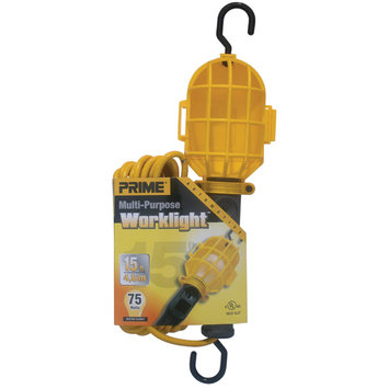 Prime Wire TL090515 15-Feet 18/2 SJT Plastic Guard Work Light