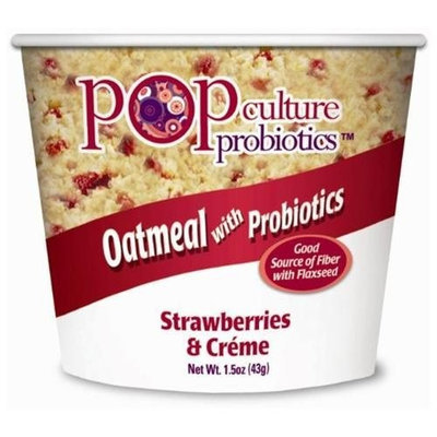 Pop Culture Probiotics Oatmeal Cup Strawberries N' Cr, 1.5-Ounce Packages (Pack of 12)