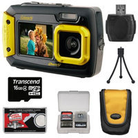 Coleman Duo 2V9WP Dual Screen Shock & Waterproof Digital Camera (Yellow) with 16GB Card + Case + Kit