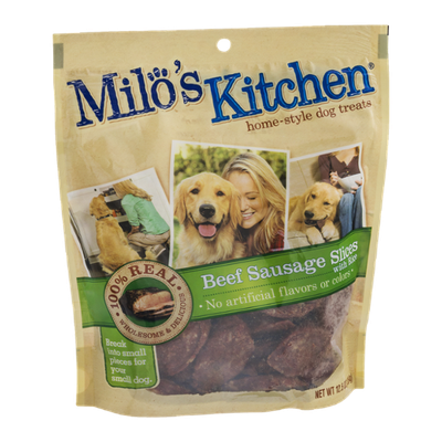 Milo's Kitchen Home-Style Dog Treats Beef Sausage Slices with Rice
