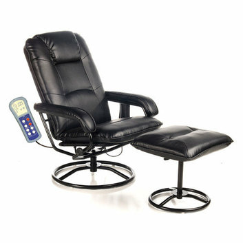 Comfort Products Leisure Recliner Chair with Ottoman in Black