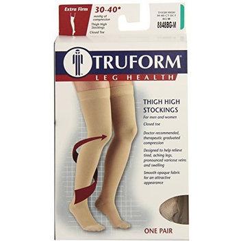 Truform 8848, Compression Stockings, Thigh High, Closed toe, Silicone Dot Top, 30-40 mmHg, Beige, Medium
