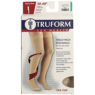Truform 8848, Compression Stockings, Thigh High, Closed toe, Silicone Dot Top, 30-40 mmHg, Beige, Medium