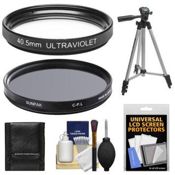 Sunpak 40.5mm UV Ultraviolet Glass & Circular Polarizer Filter with Tripod + Kit for Nikon 1 Digital Camera with 10mm f/2.8, 30-110mm VR & 10-30mm Lens