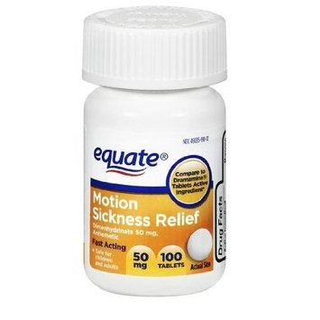 Equate - Motion Sickness 50 mg, 100 Tablets Anti-Vomiting/Nausea (Compare to Dramamine)