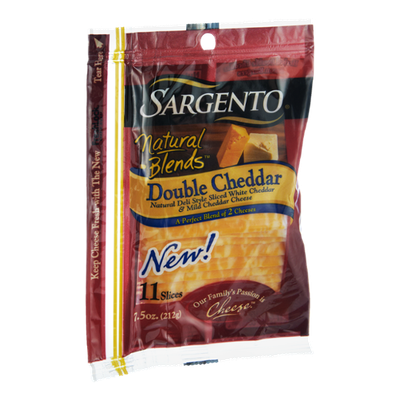 Sargento Natural Blends Double Cheddar White & Mild Cheddar Deli Style Sliced Cheese - 11 CT