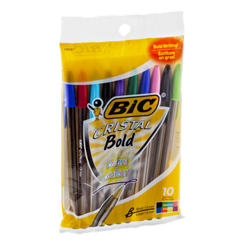 BIC Crystal Bold Assorted Color Ball Point Pens - 10 CT