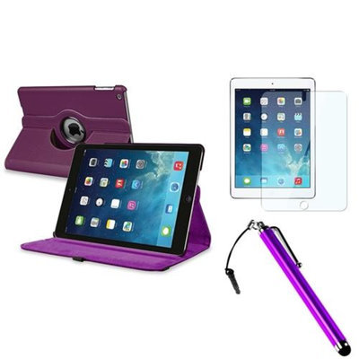 Insten INSTEN Purple 360 Rotating Leather Case Cover+LCD Protector+Pen For Apple iPad Air 5 5th Gen