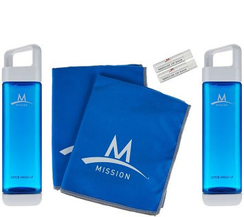 Mission Fuel & Cool Set of 2 Water Bottles & Cooling Towels