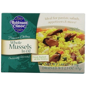 Robinson Crusoe Mussels in Oil, 3.88-Ounce (Pack of 6)
