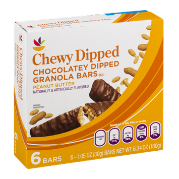 Ahold Chewy Dipped Chocolatey Dipped Granola Bars Peanut Butter - 6 CT
