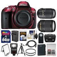 Nikon D5300 Digital SLR Camera Body (Red) with 18-140mm VR & 55-300mm VR Zoom Lens + 64GB Card + Case + Flash Kit