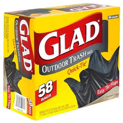 Glad Outdoor Trash Bags with Easy Tie Flaps, 30 Gallon 58 bags