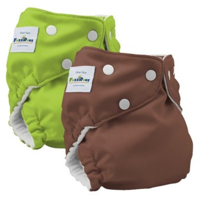 FuzziBunz Elite Reusable Diapers One Size (2 pack) - Apple Green/Choco Truffle