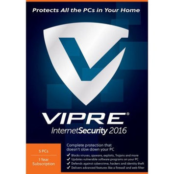 ThreatTrack VISH12016ESD-0000US VIPRE Internet Sec 2016, 5 PCs, 1 Year (Email Delivery)