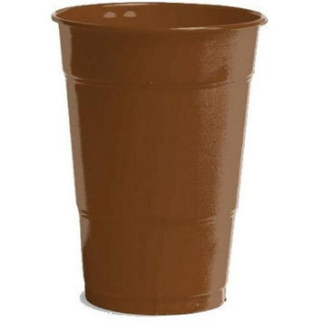 Amscan 436800.111 12 oz. Big Party Plastic Cups - Chocolate Brown - Pack of 1000