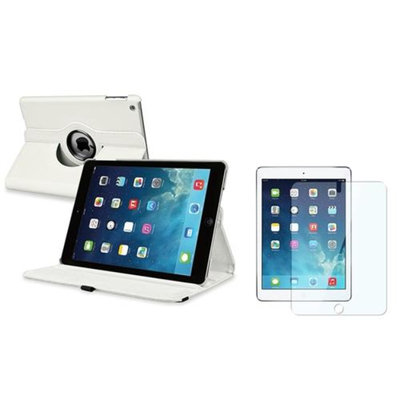 Insten INSTEN White 360 Rotating Leather Case Cover+LCD Protector For Apple iPad Air 5 5th Gen