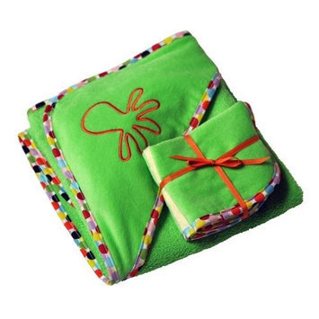 Ambajam Plush Hooded Towel and Wash Cloth Set, Green Apple Terry/Mod Dot Trim