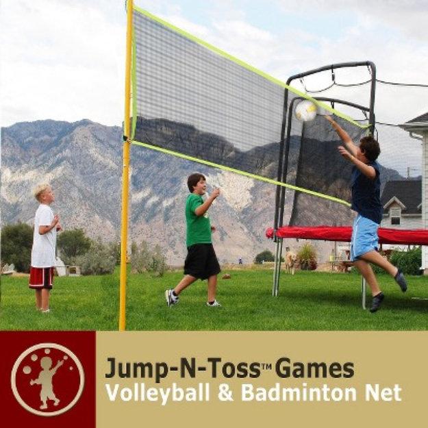 Skywalker Trampoline Skywalker Kids Trampoline Jump-n-Toss Volleyball Game with Enclosure
