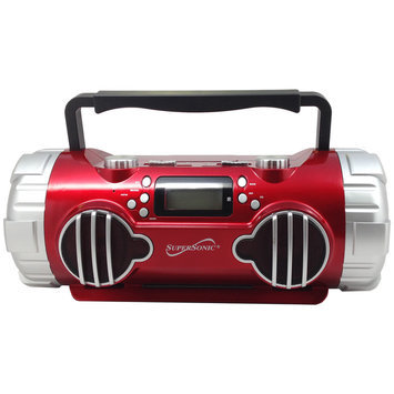 Supersonic Portable MP3 Player with AM/FM Radio and Rechargeable Battery