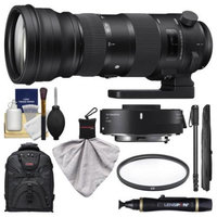 Sigma 150-600mm f/5.0-6.3 Sports DG OS HSM Zoom Lens & 1.4x Teleconverter (for Canon EOS) with Backpack + Monopod + UV Filter + Kit