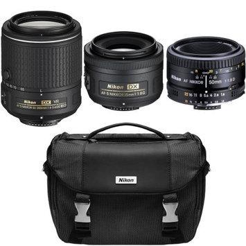 Nikon Super Three Lens Starter Bundle - 35mm, 50mm, & 55-200mm Zoom Lens (Refurbished)