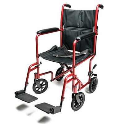 Everest & Jennings Aluminum Transport Chair 17 inch Red