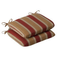 Pillow Perfect Outdoor 2-Piece Chair Cushion Set - Tan/Red Stripe