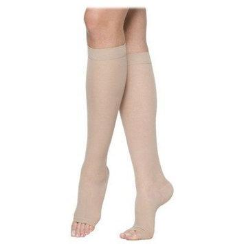 Sigvaris 770 Truly Transparent 20-30 mmHg Women's Open Toe Knee High Sock Size: Large Short, Color: Suntan 36