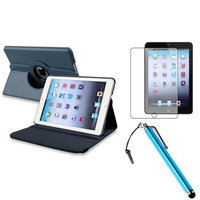Insten iPad Mini 3/2/1 Case, by INSTEN Navy Blue 360 Leather Case Cover+Matte SP/Pen for iPad Mini 3 2 1