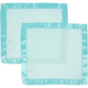 Miracle Industries MiracleWare Solid Aqua with Aqua Trim 2 Pack Muslin Security Blanket
