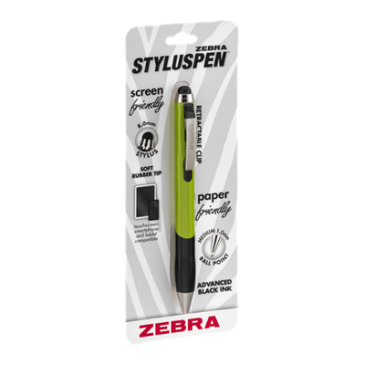 Zebra StylusPen Retractable Ball Point Black Ink Medium 1.0mm Green