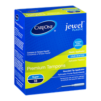 CareOne Premium Tampons Jewel Plastic Super Unscented - 18 CT