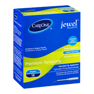 CareOne Premium Tampons Jewel Plastic Super Unscented - 18 CT