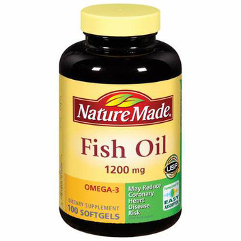 Nature Made Fish Oil 1200 mg Omega-3 Softgels Dietary Supplement 100 ct