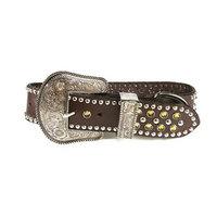 Zuri Collection 082045091489 Brown Leather Collar, Khaki Swarovski Crystal Xlarg