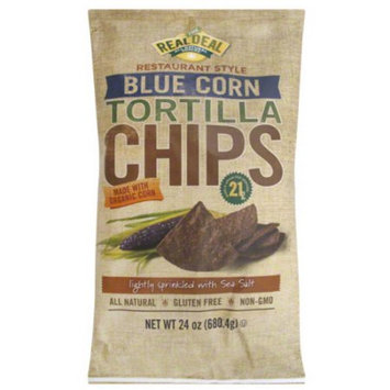Real Deal All Natural Snacks Restaurant Style Blue Corn Tortilla Chips, 24 oz, (Pack of 9)