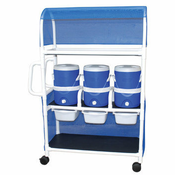 MJM International Hydration Cart with 3-5 Gallon Water Cooler with Side Panels and Canopy