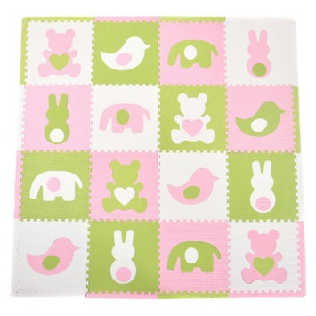 16-Piece Playmat Set - Teddy and Friends in Pink by Tadpoles