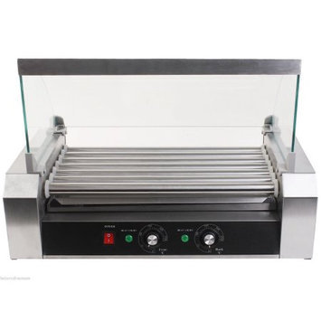 Apontus New Commercial 18 Hot Dog Hotdog 7 Roller Grill Cooker Machine w/ Cover