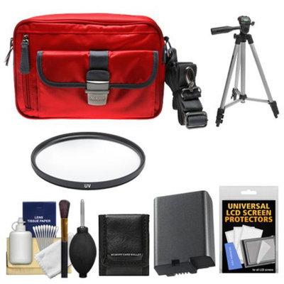 Nikon 1 Series Deluxe Digital Camera Case (Red) with EN-EL21 Battery + UV Filter + Tripod + Accessory Kit for V2