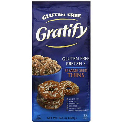 Gratify Sesame Seed Thins Gluten Free Pretzels, 10.5 oz, (Pack of 6)