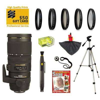 Opteka Sigma 70-200mm f/2.8 APO EX DG HSM OS FLD Large Aperture Telephoto Zoom Lens with UV, CPL, FLD, ND4,+10 Macro Filters and Bundle for Canon EOS 1DX, 70D, 60D, 60
