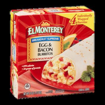 El Monterey Breakfast Supreme Egg & Bacon Burritos - 4 CT