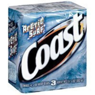 Coast Arctic Surf Bath Soap for Refreshed Skin By Dial, 4 Ounce Bars, 3-Count
