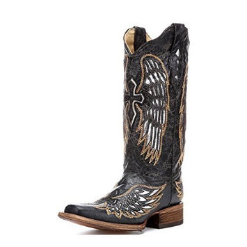 Corral Boots Corral Women's Distressed Gold-Tone Embroidered Cross And Wing Cowgirl Boot [Black, Silver, Gold, 6 B(M) US]